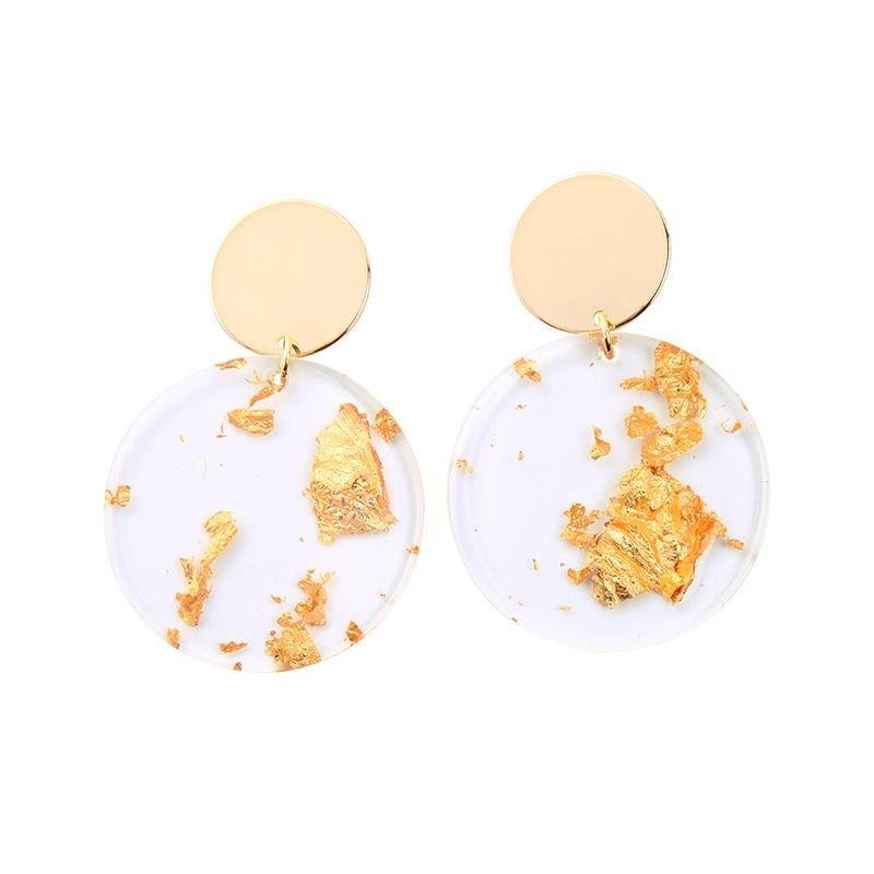 Disc Earring With Gold Foil