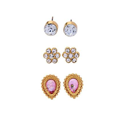Crystal Earrings Triple Set