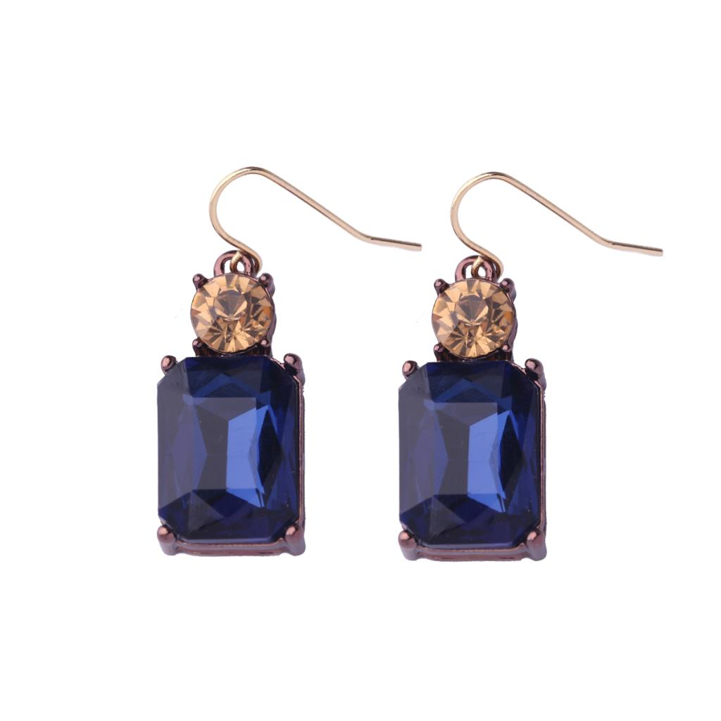 Navy and Amber Drop Earrings