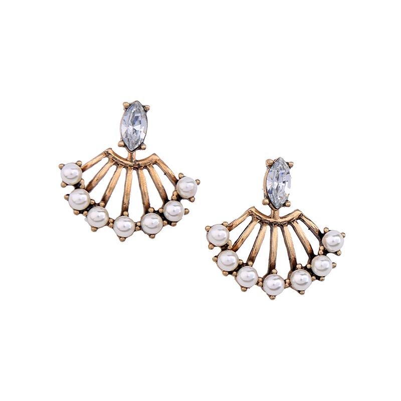 Crystal front Pearl Splay Back Earrings