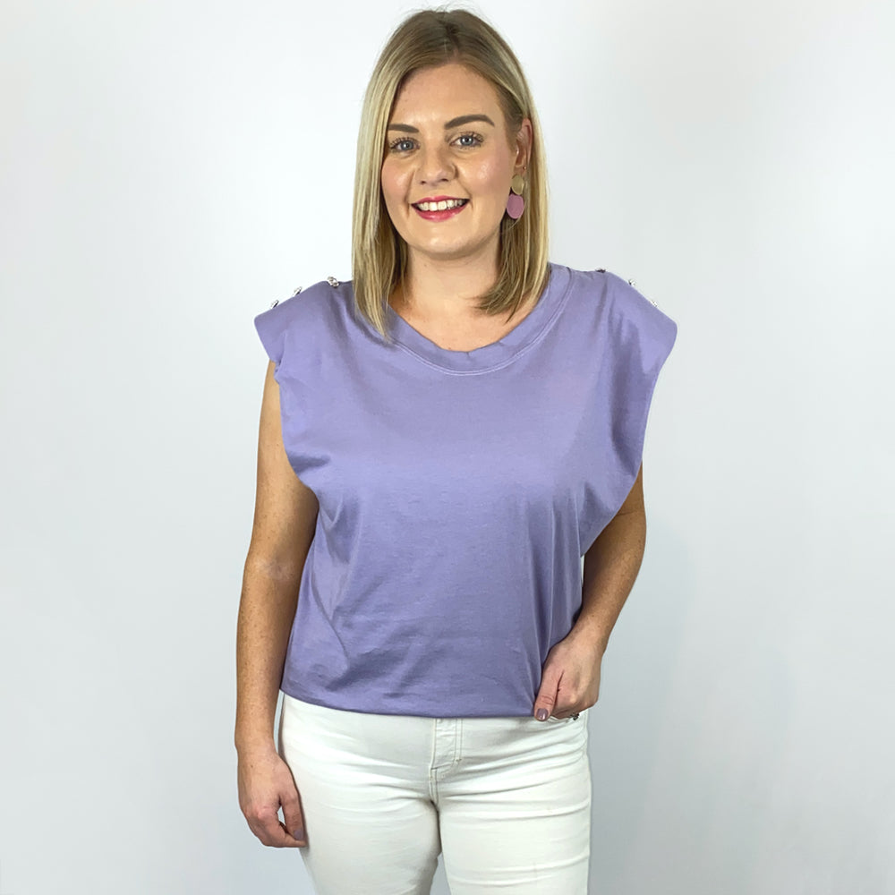 Lilac Padded Shoulder Tee