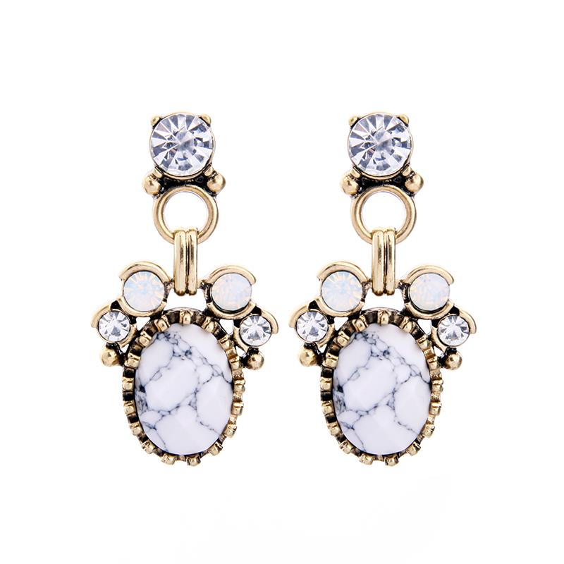 Marble Effect White Earring