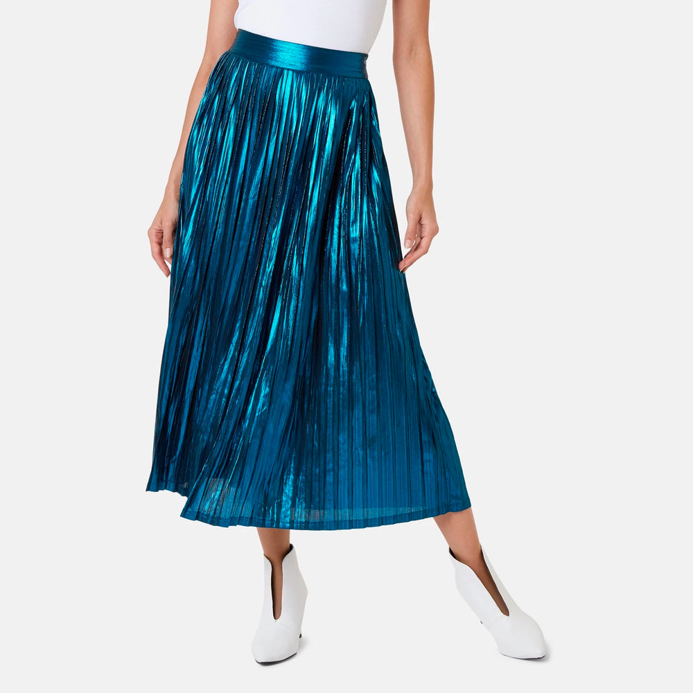 Metallic Blue Maxi Skirt