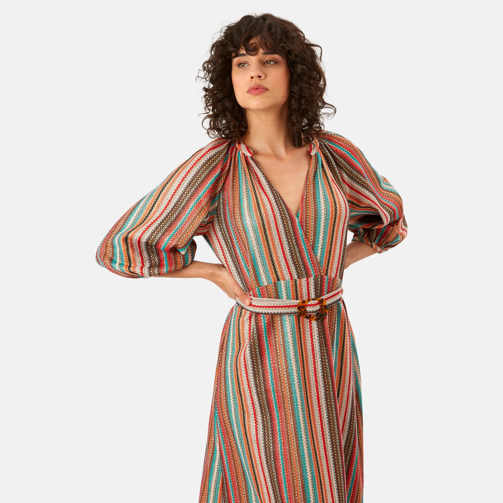 Multi-Coloured Striped Midi