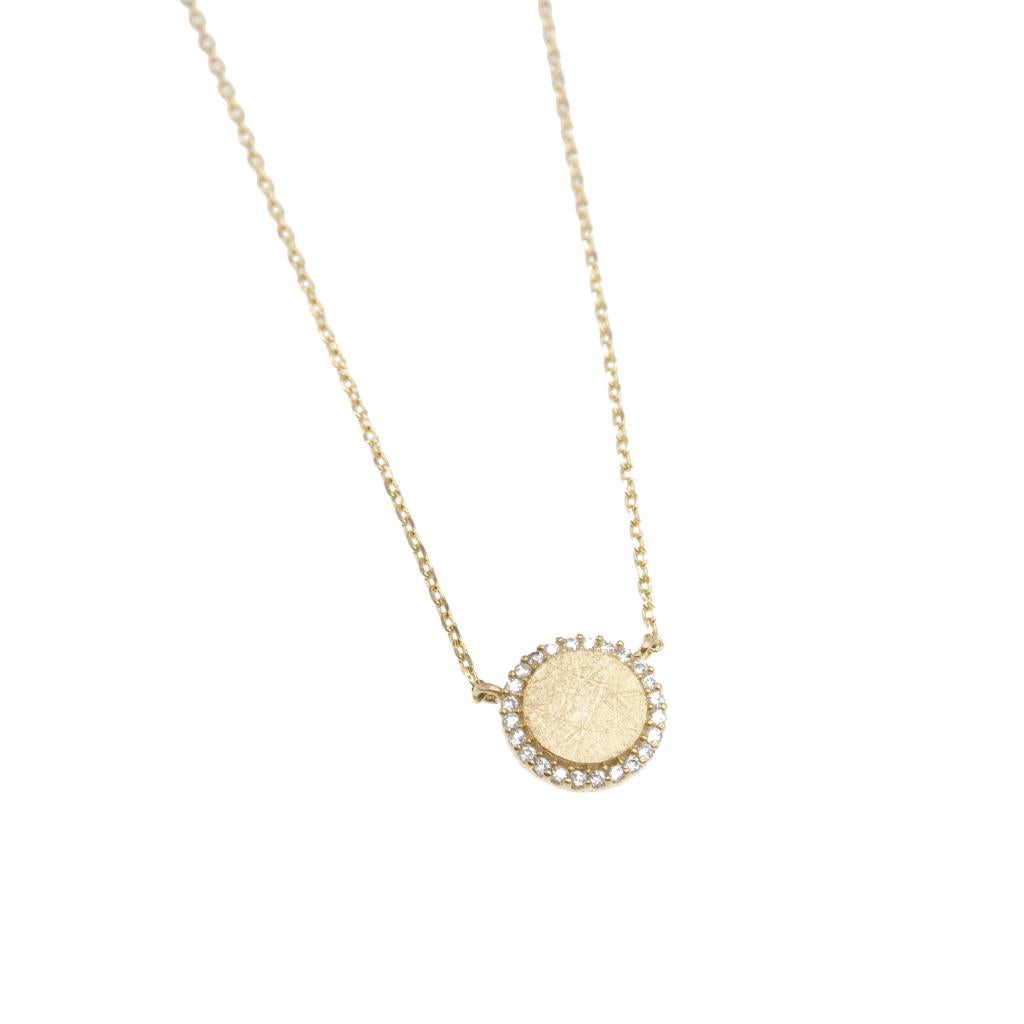 Gold and Crystal Circle Necklace