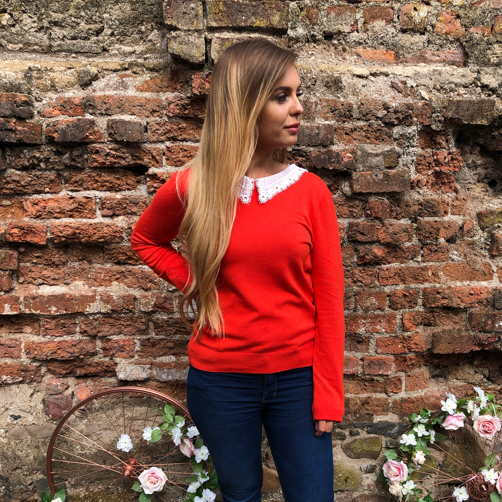 Orange Jumper with Lace Collar