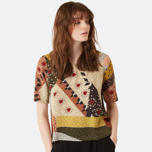Patchwork Printed Top