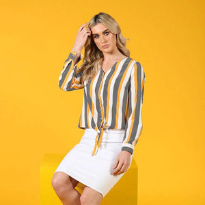 Marcy Yellow Tie Front Top