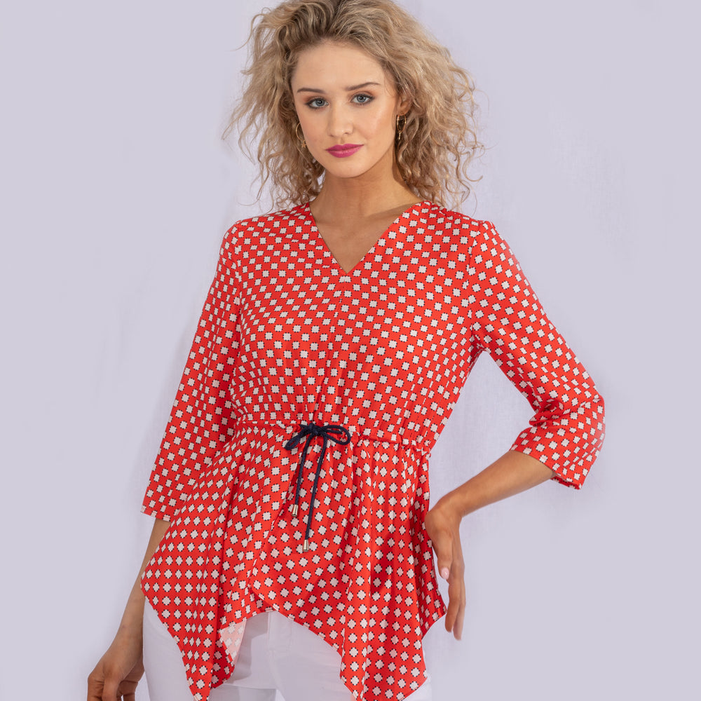 Red Printed Handkerchief Top