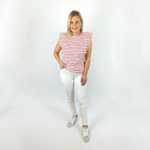 Red Striped Padded Shoulder Tee