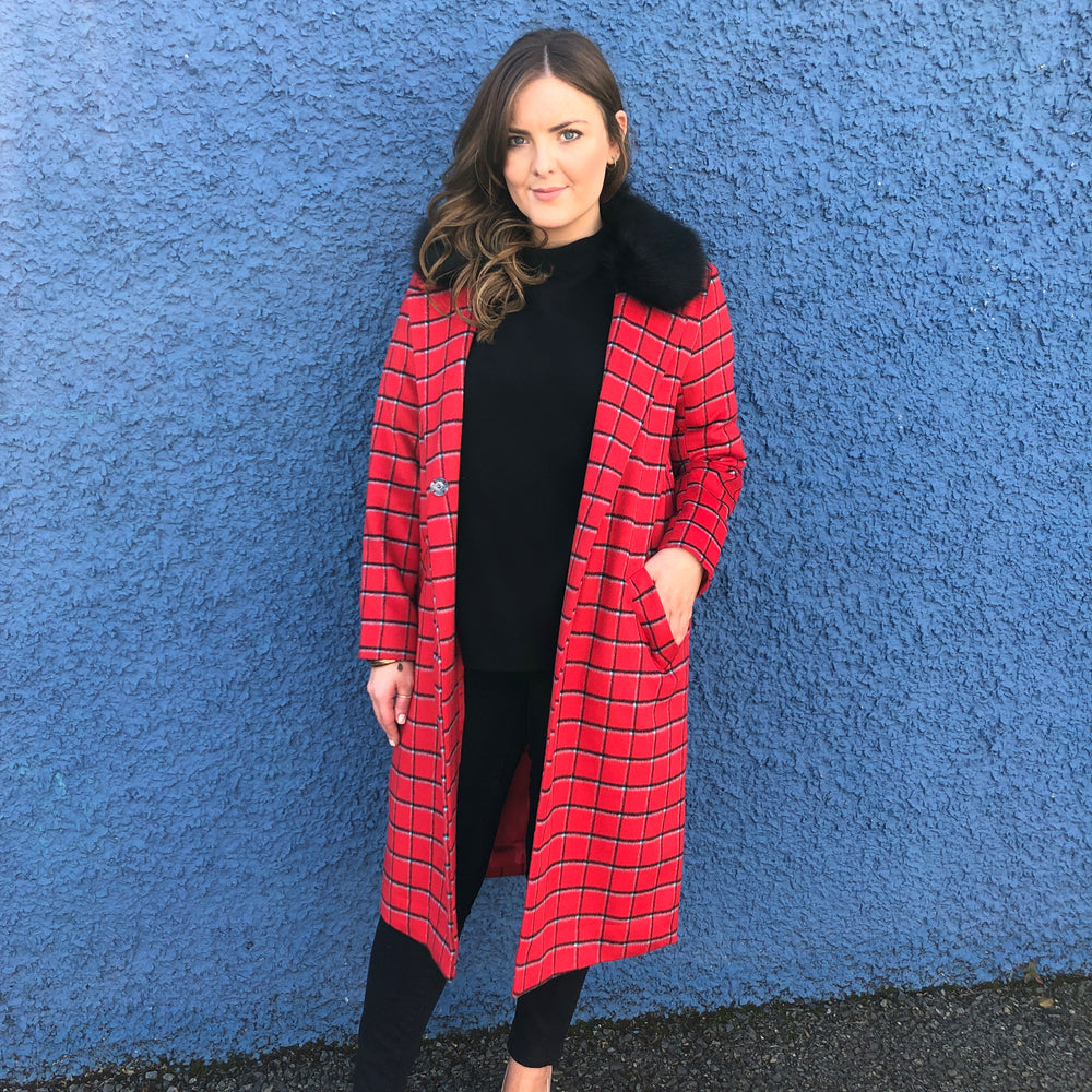 Red Fur Collared Coat