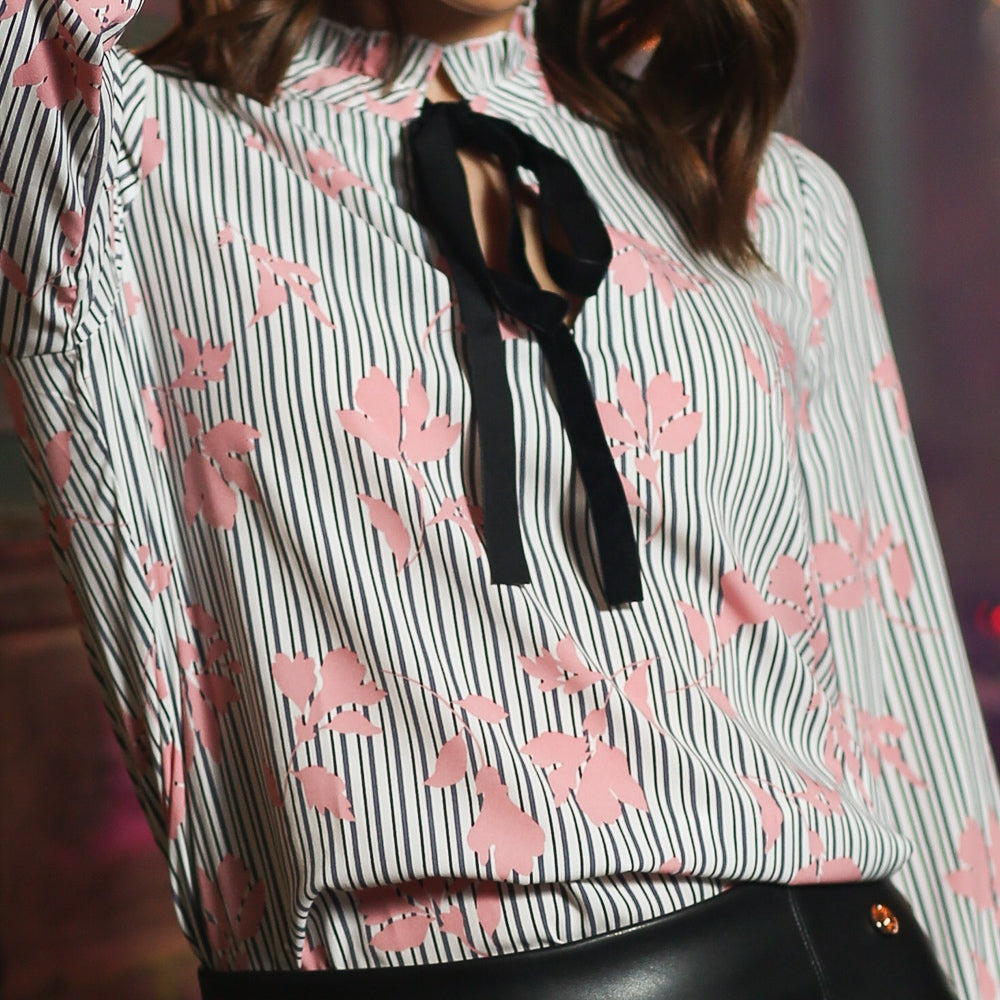 Rosa Striped Floral Blouse