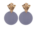 Grey Disc Earring