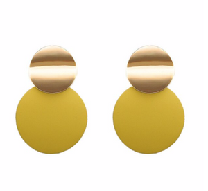 Yellow Disc Earring