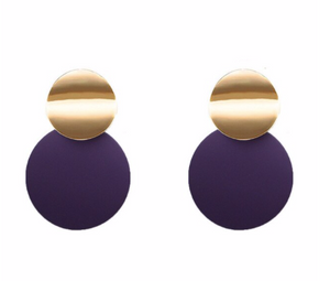 Purple Disc Earring