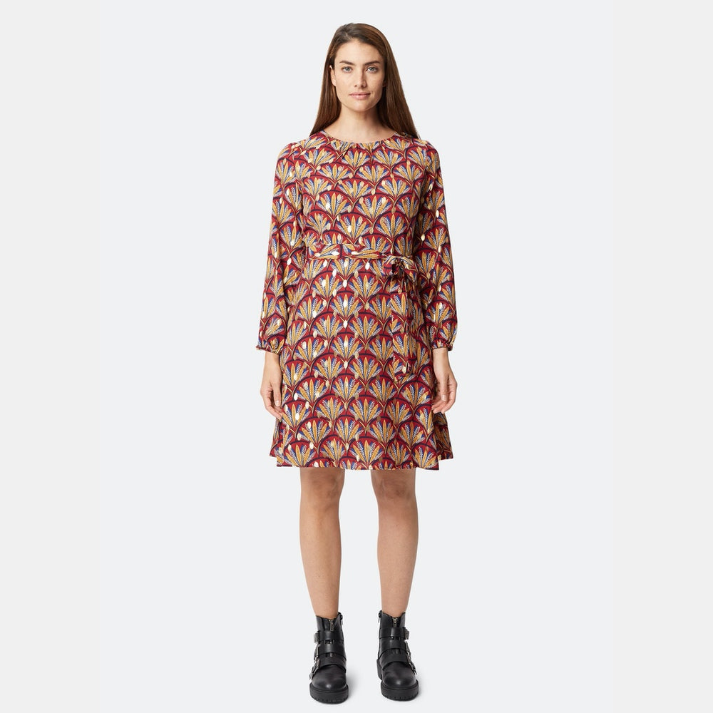 Wine Fan Printed Dress