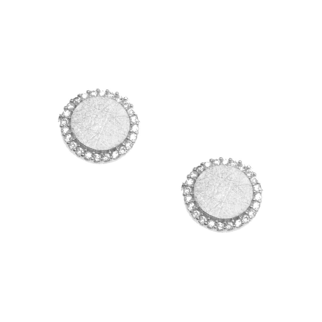 Silver and Crystal Circle Earring