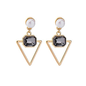 Gem Triangle Drop Earrings