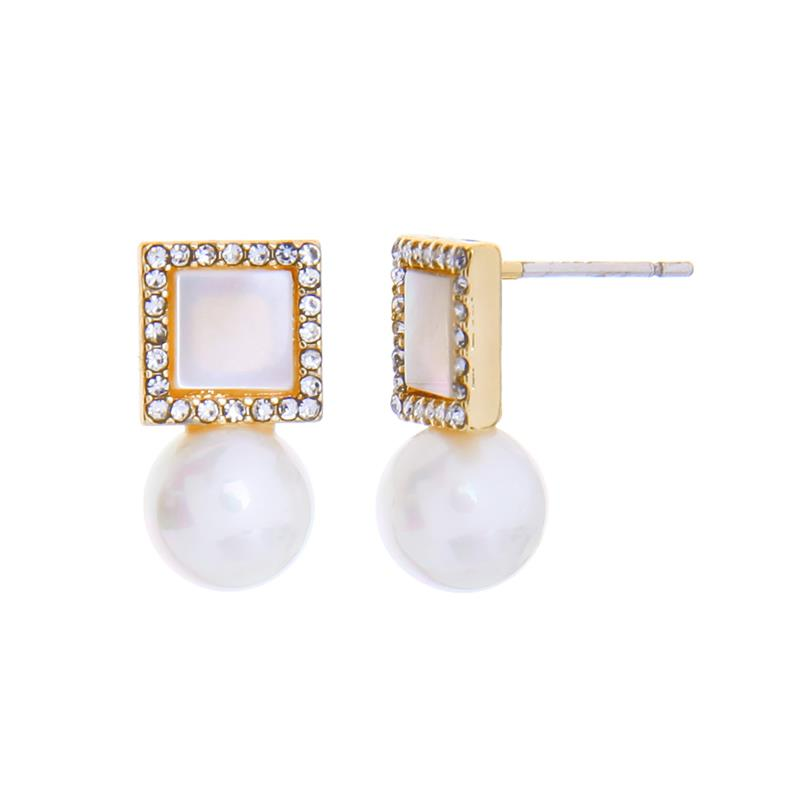 Crystal Square Pearl Drops