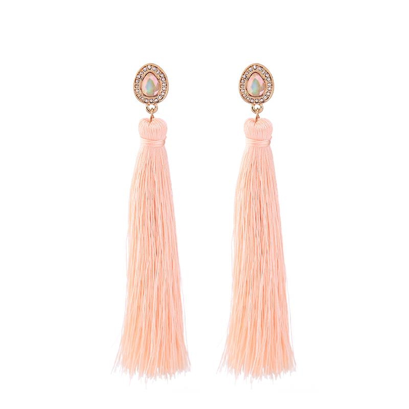 Peach Tassel Drop Earrings