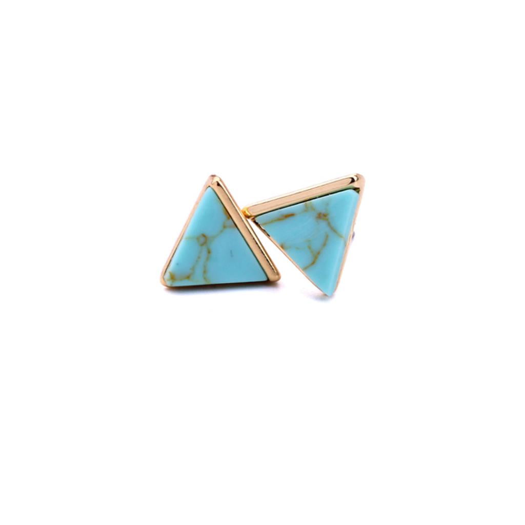 Turquoise Marble Pyramid Earrings