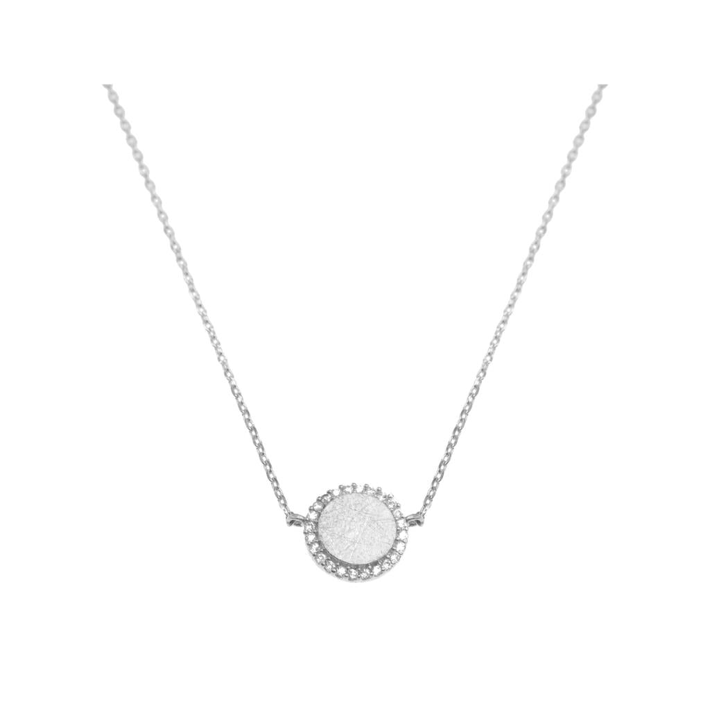 Silver and Crystal Circle Necklace