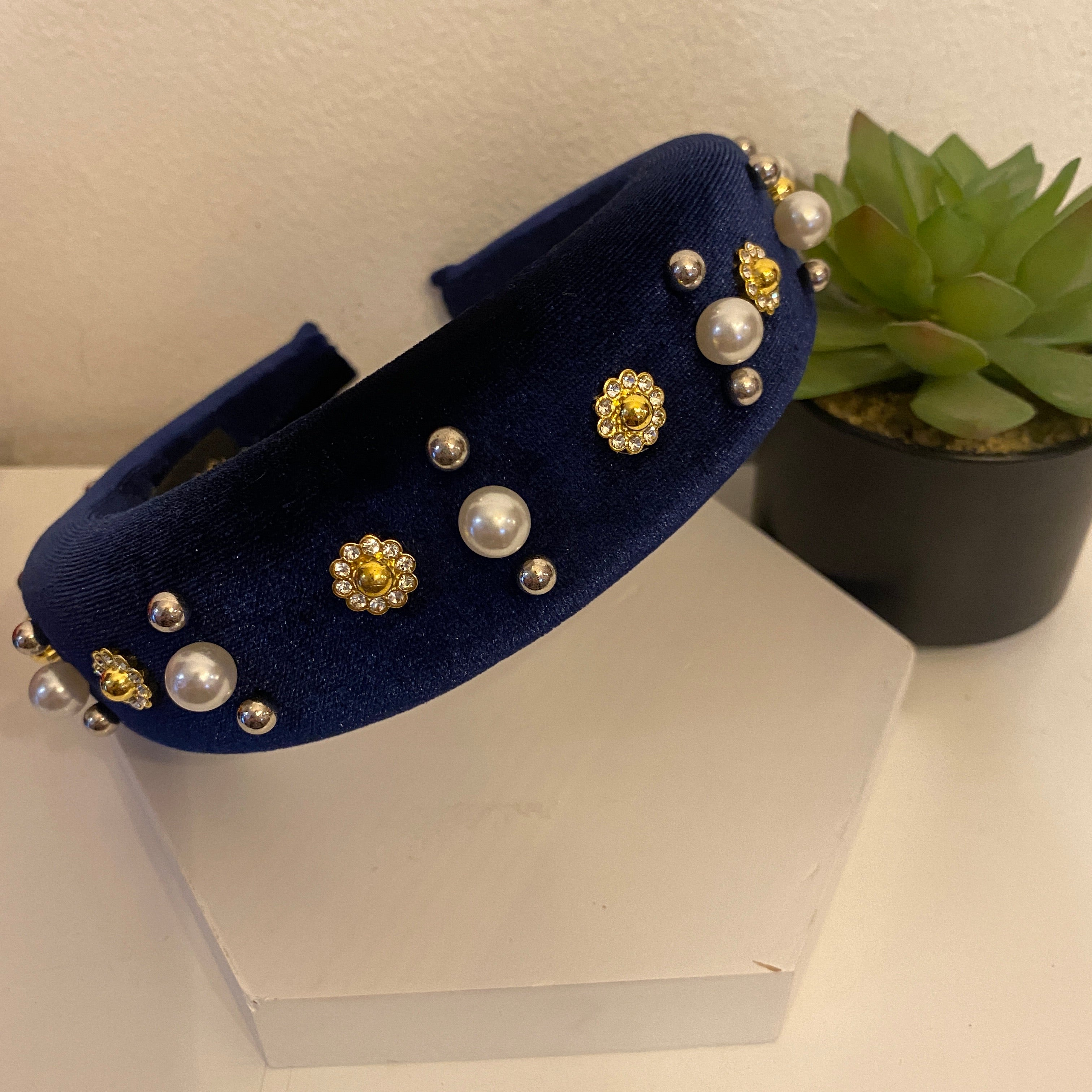 Navy Jewelled Velvet Hairband