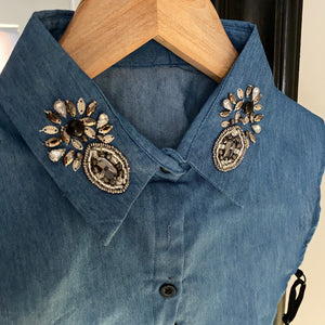 Beaded Denim Collar Bib