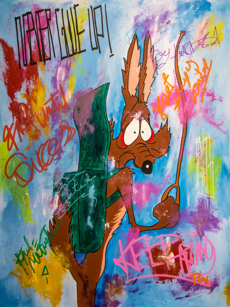 Coyote - Never Give Up - Pop Art 150x110cm Carlos Pun