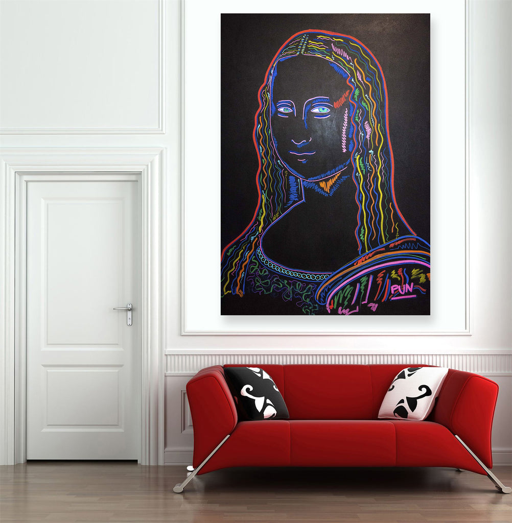 Mona Lisa 3D Chroma Depth portrait. Big Painting 150x110cm by Carlos Pun