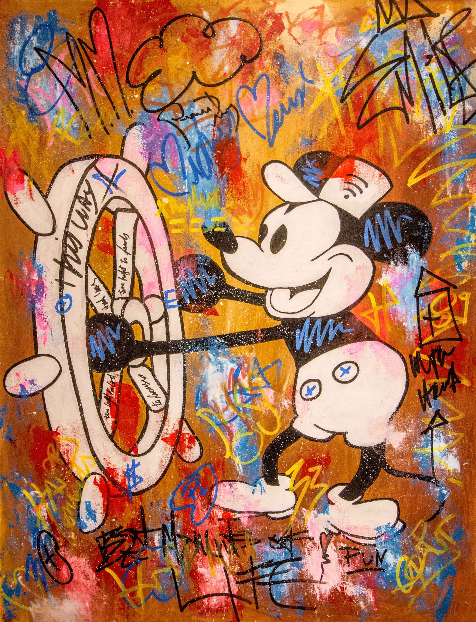 Sold - Old Mickey Mouse Sailing- 150x110cm - Free Shipping - Street Art by Carlos Pun