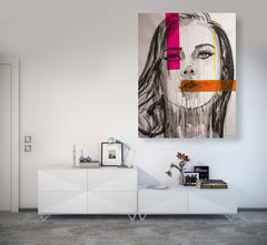 Untitled Nº110 Faces Series - 90x70cm - Ready to Hang - Certificated Included for Art Collectors