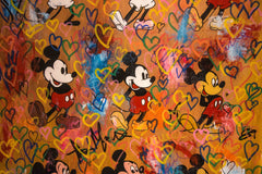 Love Mickey Time Line - 150x110cm - Free Shipping - Certification Included - Carlos Pun Fine Art