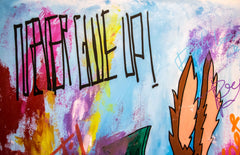 SOLD - Coyote - Never Give Up - Pop Art 150x110cm Carlos Pun
