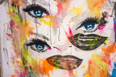 Untitled Nº121 Girl Faces Series - 90x70cm - Ready to Hang