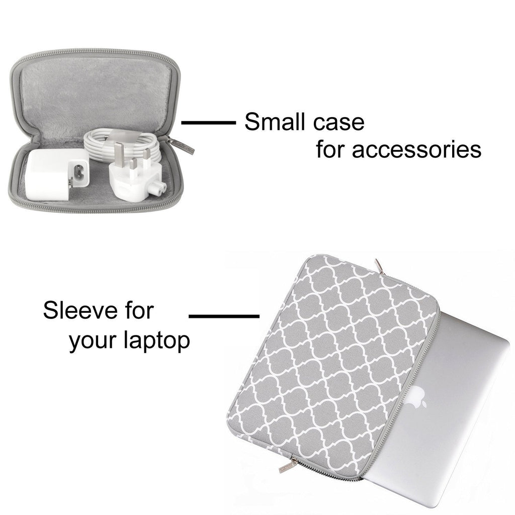 1808d320dda3 Mosiso Quatrefoil Style Canvas Fabric Laptop Sleeve Bag Cover for 13-13.3  Inch MacBook Pro, MacBook Air, Notebook with Small Case, Grey