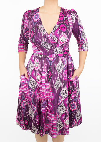 Large Petunia Knit Wrap Dress - Paisley Raye