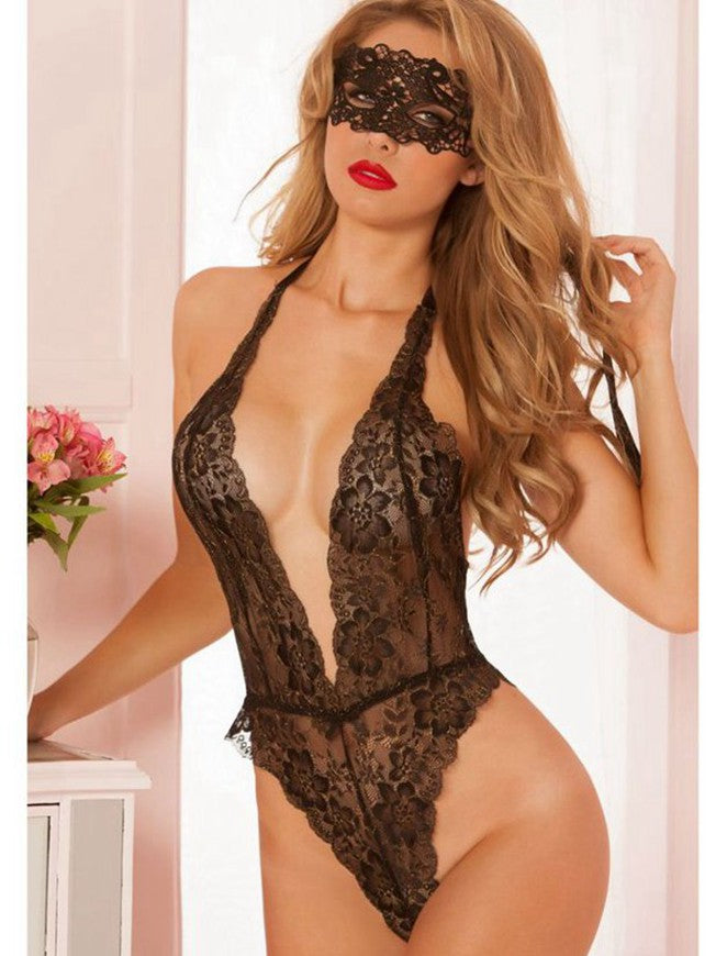 Floral Lace Teddy With Eye patch