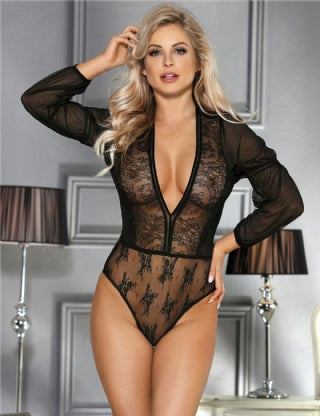 Exquisite Black Lace Sleeve Teddy