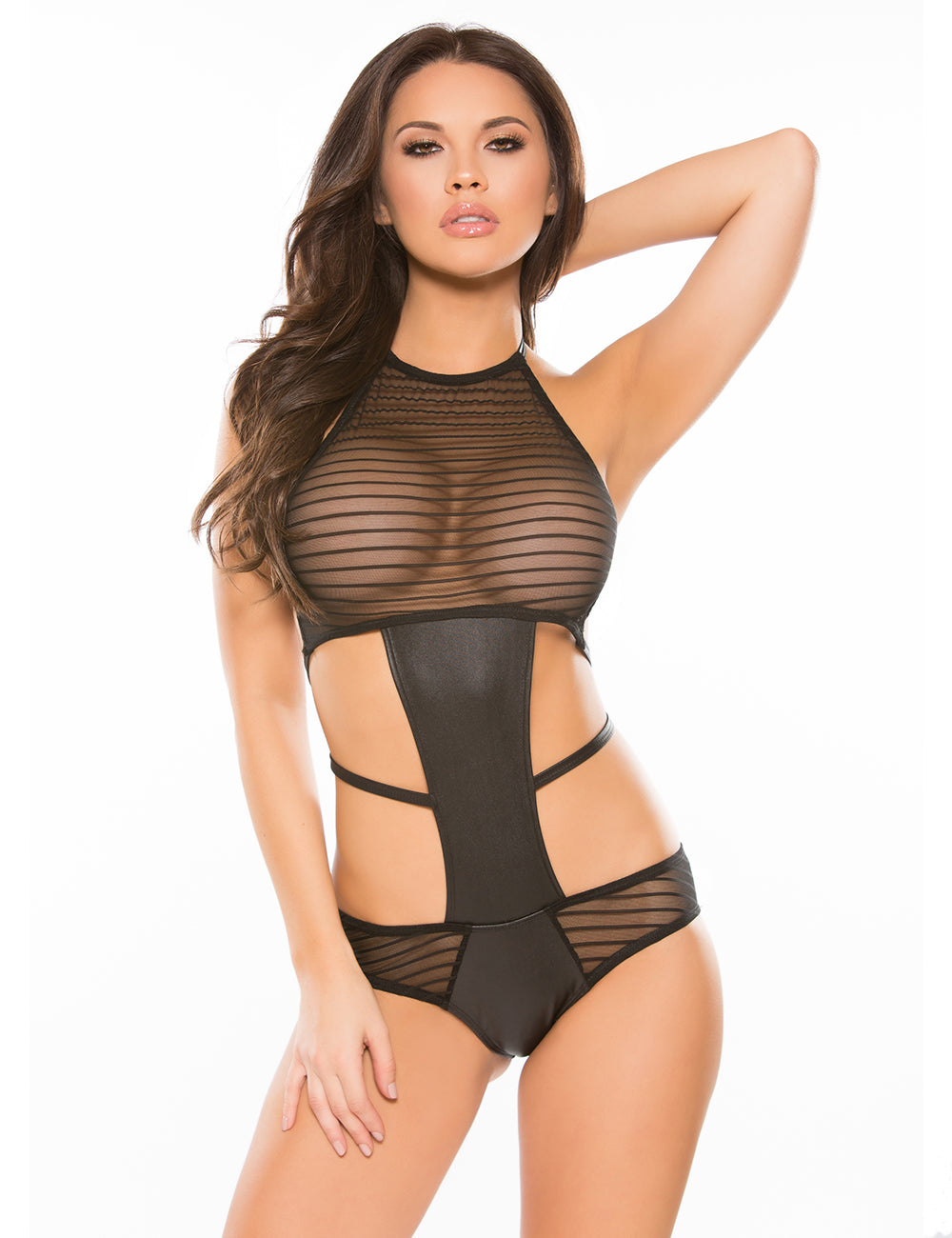 Black Backless Striped Lace Teddy