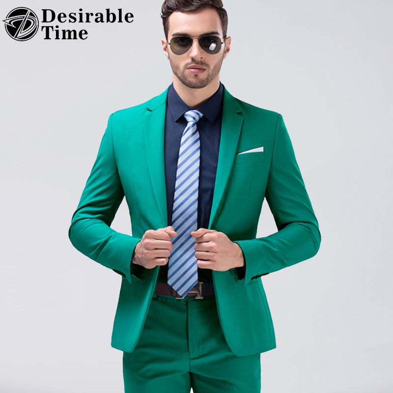 Desirable Time Men Green Party Suit Slim Fit New Fashion Purple and Wh