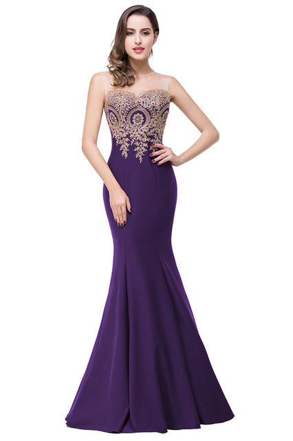 Sexy Backless Appliques Burgundy Mermaid Lace Long Prom Dresses - Forefront Outfitters Inc.