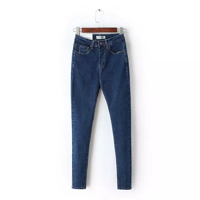 2018 Vintage Mom Fit High Waist Jeans Elastic Femme Women Washed Blue Denim Skinny Jeans Classic Pencil Pants C3553