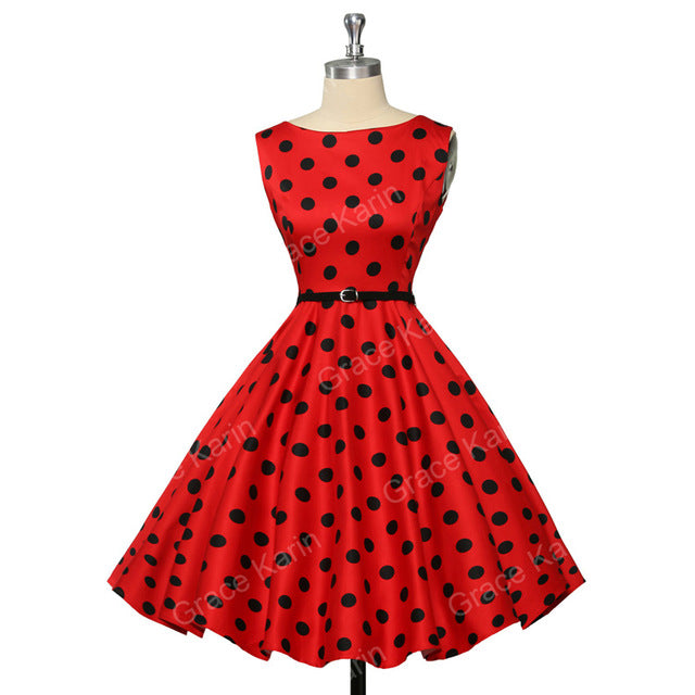 Womens Cocktail Dresses Summer style Floral Print Retro Vintage 50s Casual Party Rockabilly Dress Vestidos Femininos - Forefront Outfitters Inc.