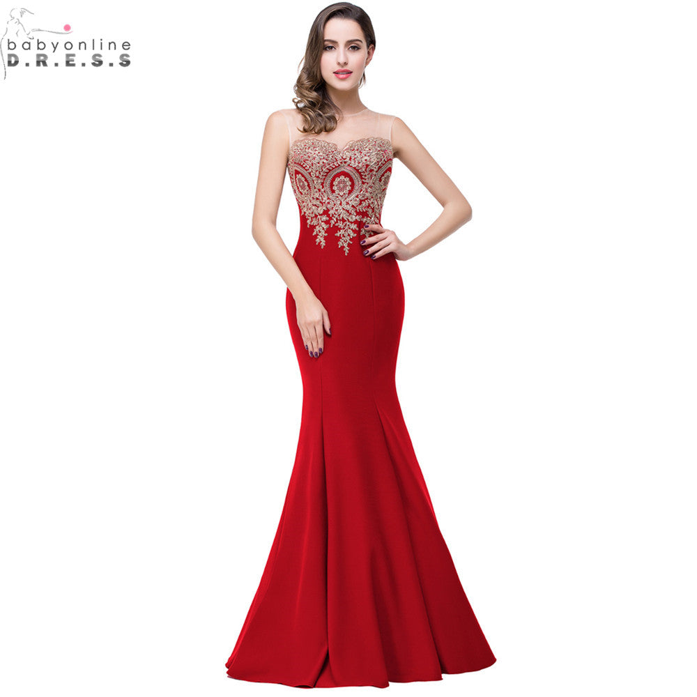 Robe de Soiree Longue Sexy Backless Red Mermaid Lace Evening Dress 2018 Appliques Evening Gowns Vestido de Festa - Forefront Outfitters Inc.