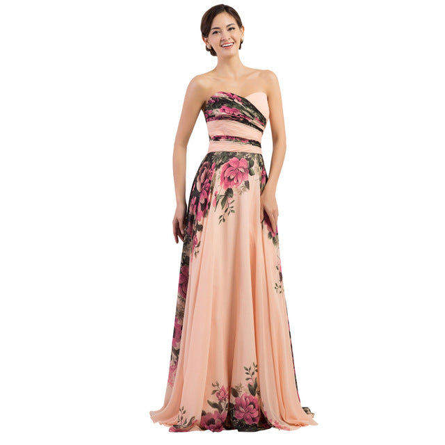 3 Designs Stock One Shoulder Flower Pattern Floral Print Chiffon Evening Dress Gown Party Long Prom dresses 2017