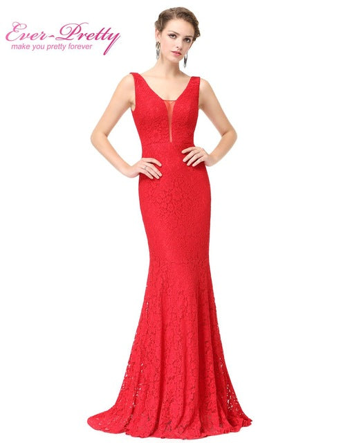Ever Pretty EP08838 Fashion Small Train Sexy Trumpet V-Neck Elegant Prom Dresses