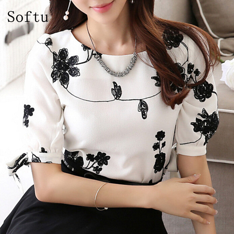 Casual Shirt O Neck Half Sleeve Floral Printing Female shirt