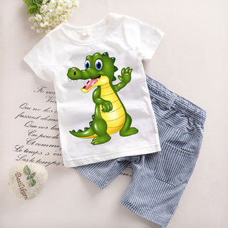 2PCS Suit Baby Boy Clothes Children Summer Toddler Boys Clothing set Cartoon 2018 New Kids Fashion Cotton Cute Animal Sets T20