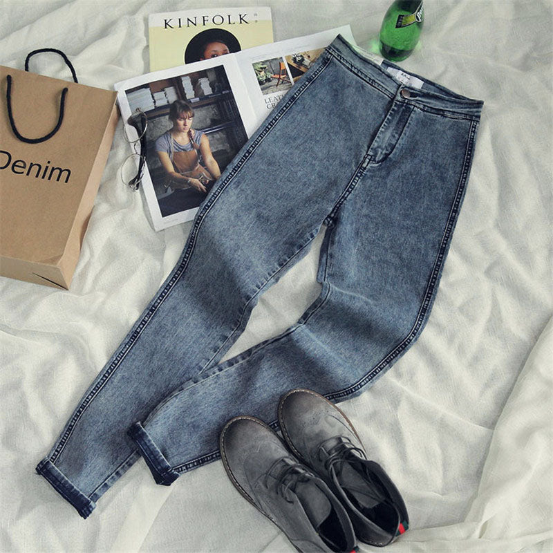 High Waist Jeans For Women Casual Stretch Female Pencil Jeans Lady Vintage Denim Pants Slim Elastic Skinny Trousers 2018 spring